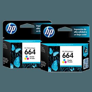 Pack de 2 Cartuchos de Tinta HP 664 Tricolor Originales