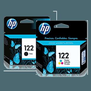 Pack de Cartuchos de Tinta HP 122 Negro + Tricolor Original