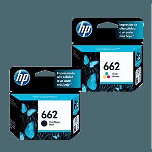 Pack de Cartuchos de Tinta HP 662 Negro + Tricolor Original