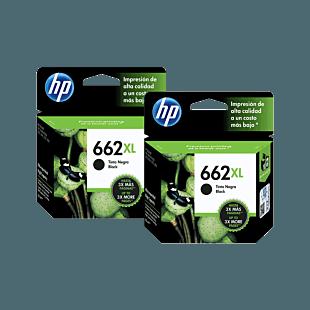 Pack de 2 Cartuchos de Tinta HP 662XL Negra Original