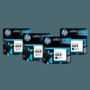 Pack de 2 Cartuchos de Tinta HP 664 Negra + 2 Cartuchos de Tinta HP 664 Tricolor Originales