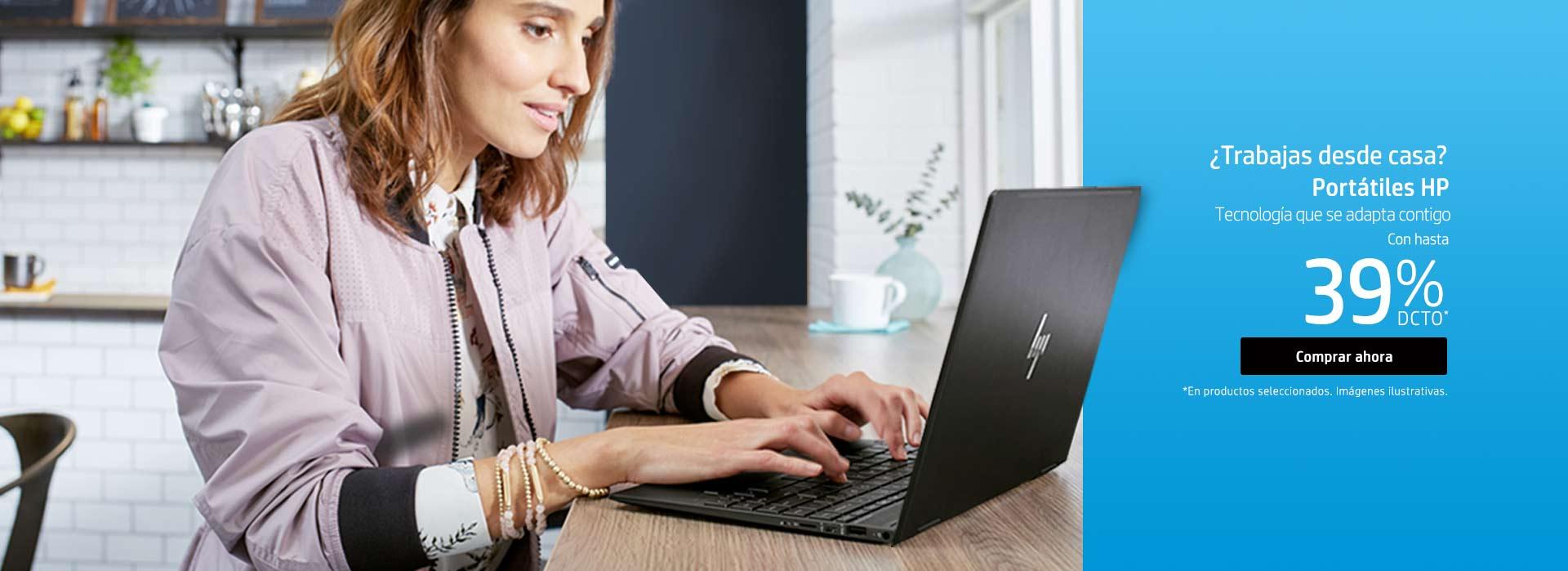 ¿Trabajas desde casa? Portátiles HP. Tecnología que se adapta contigo. Ahorra hasta 39% dcto