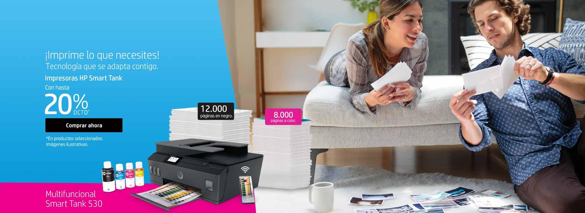 ¡Imprime lo que necesites! Tecnología que se adapta contigo. Impresoras HP Smart Tank con hasta 20% dcto